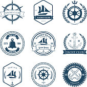 Yacht Club Label Emblem Design Elements Vector Illustration