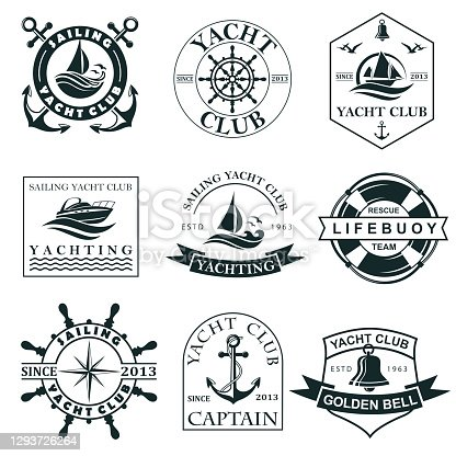 collection of yacht club labels with sea waves, anchor, helm and lifebuoy isolated on white background