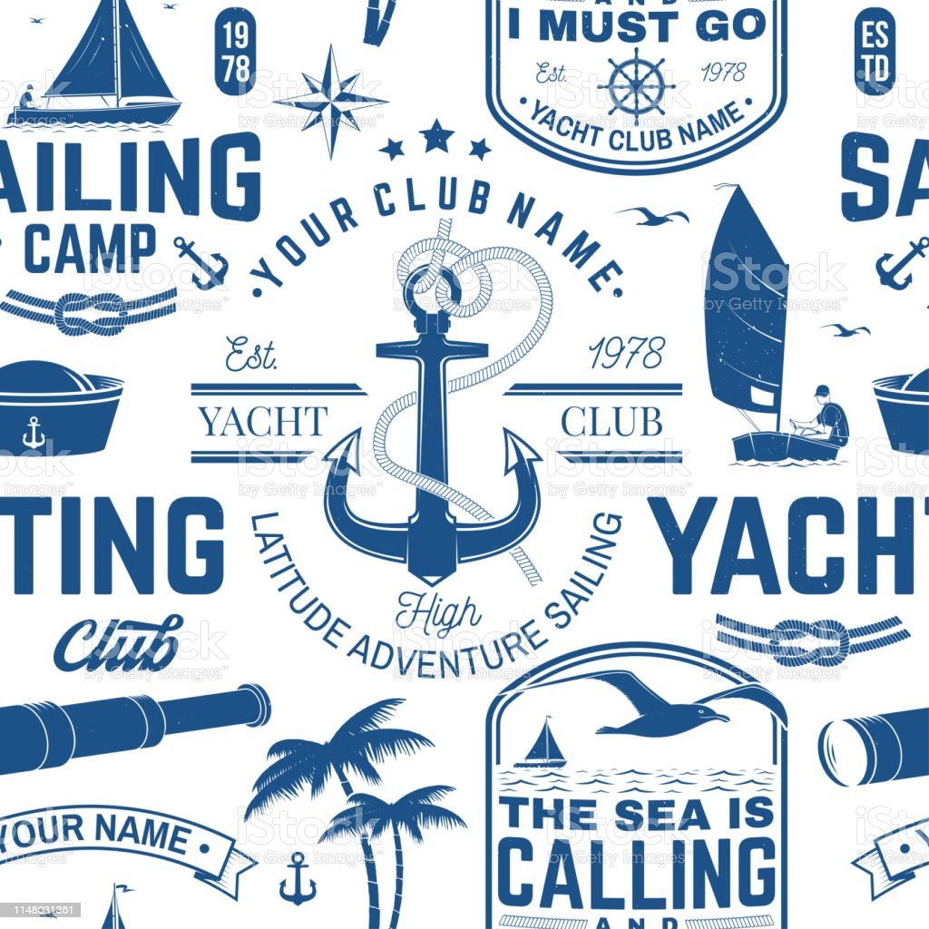daf1c8579 Yacht club seamless pattern or background. Vector. Concept for yachting  shirt, print, stamp or tee. Design with sea anchor, hand wheel, compass, ...
