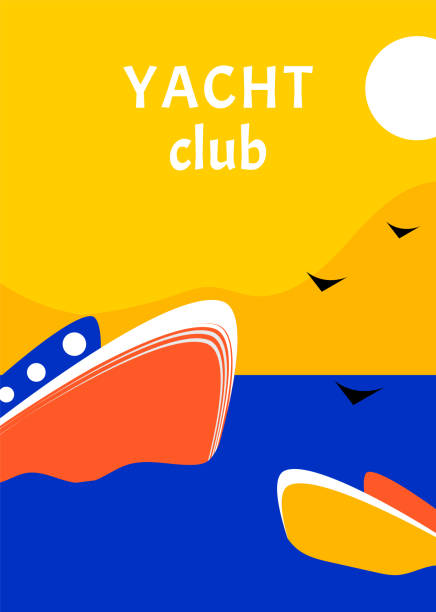 stockillustraties, clipart, cartoons en iconen met yacht club sport poster conceptontwerp met retro boot. regatta zeilen race vlakke stijl - newspaper beach