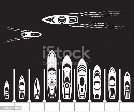 Yacht dock from above - vector illustration