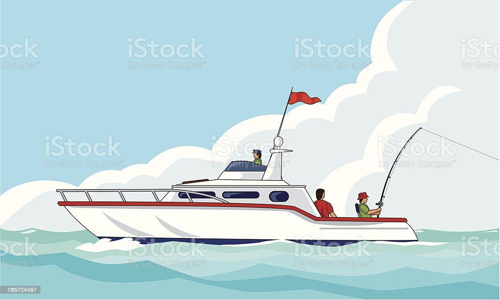 yacht fishing royalty-free stock vector art