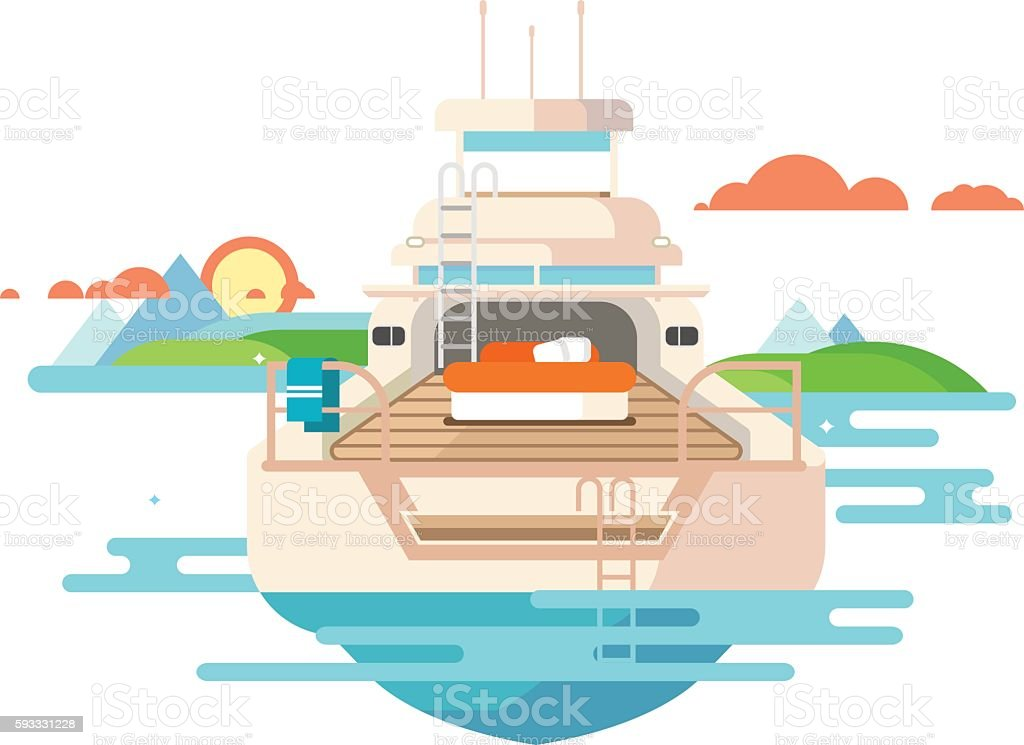 Yacht flat design vector art illustration