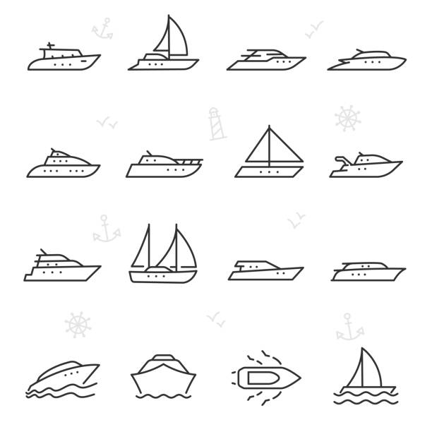 Yacht, icon set. yachts, linear icons. Line with editable stroke Yacht, icon set. yachts. Line with editable stroke sailboat stock illustrations