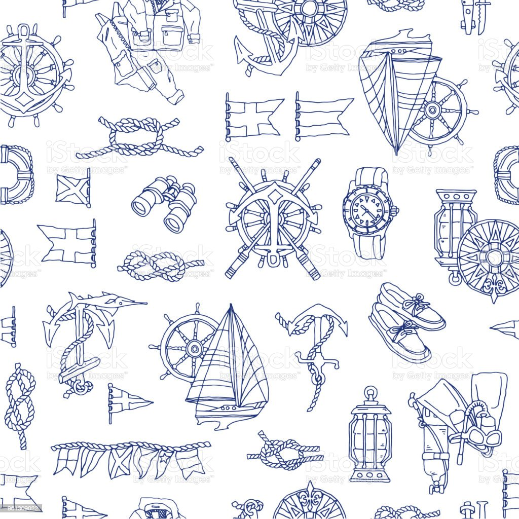 Yacht image pattern, vector art illustration