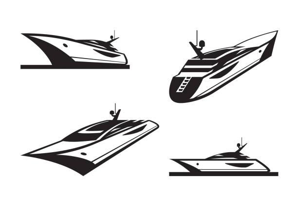 illustrations, cliparts, dessins animés et icônes de yacht en perspective différente - voilier à moteur