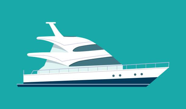 illustrations, cliparts, dessins animés et icônes de yacht isolé. illustration de plat style vecteur - voilier à moteur