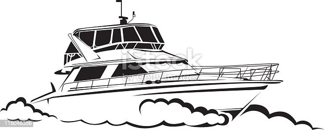 Line Drawing Yacht : Yacht line drawing stock vector art more images of black
