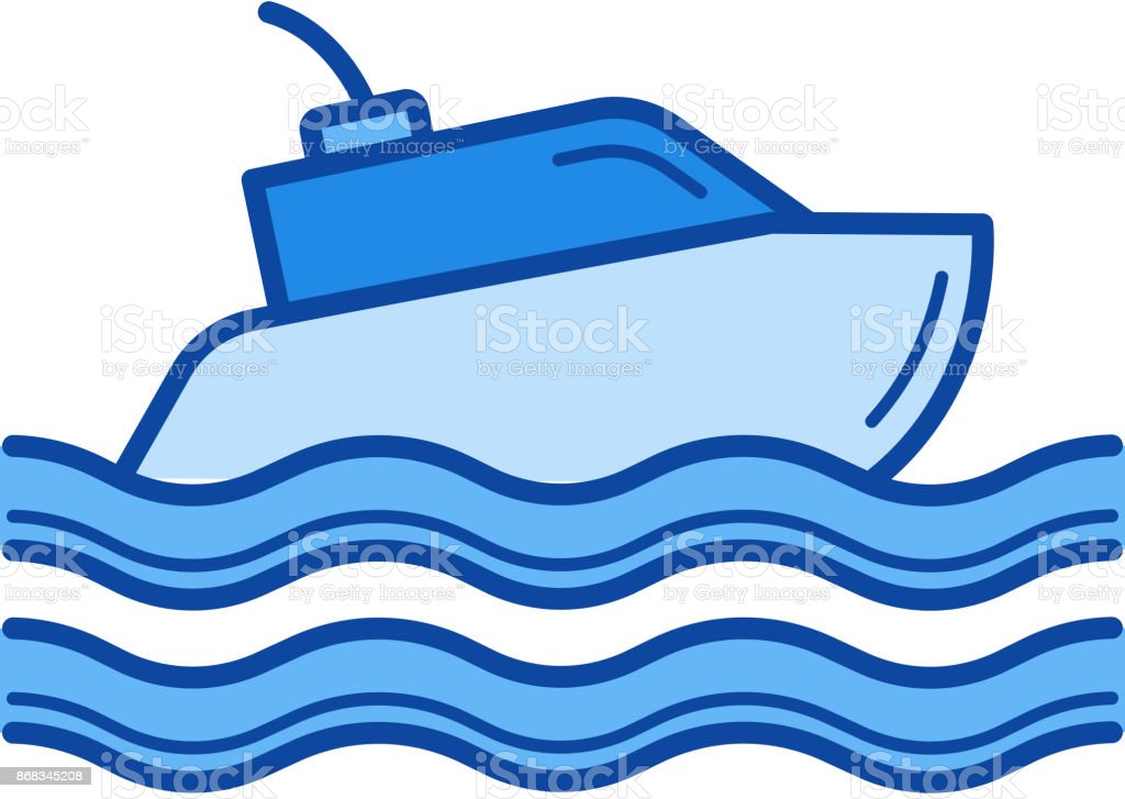 Yacht line icon vector art illustration