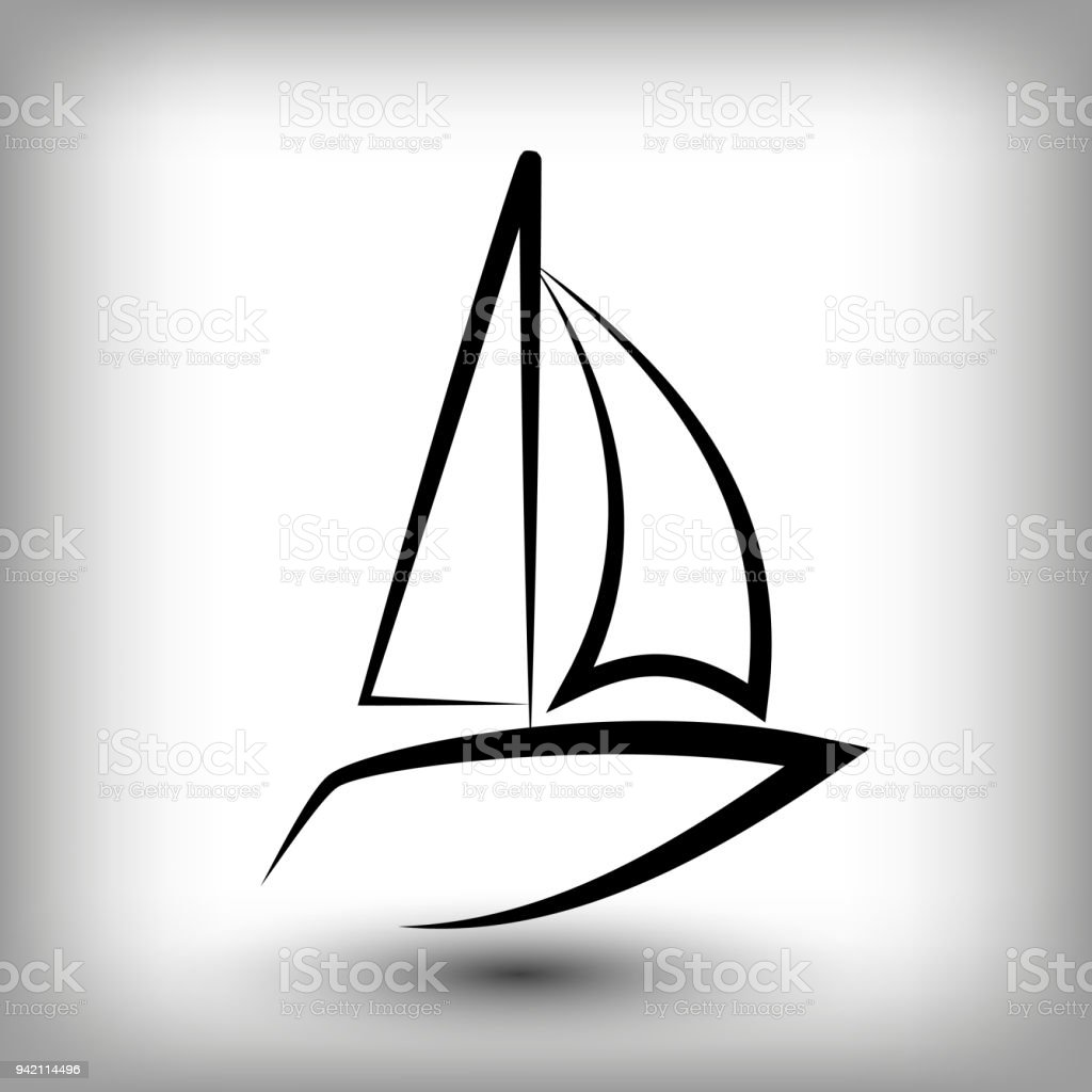 yacht logo templates sail boat silhouettes stock vector art more