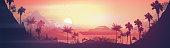 Yacht near tropical coast sunset
