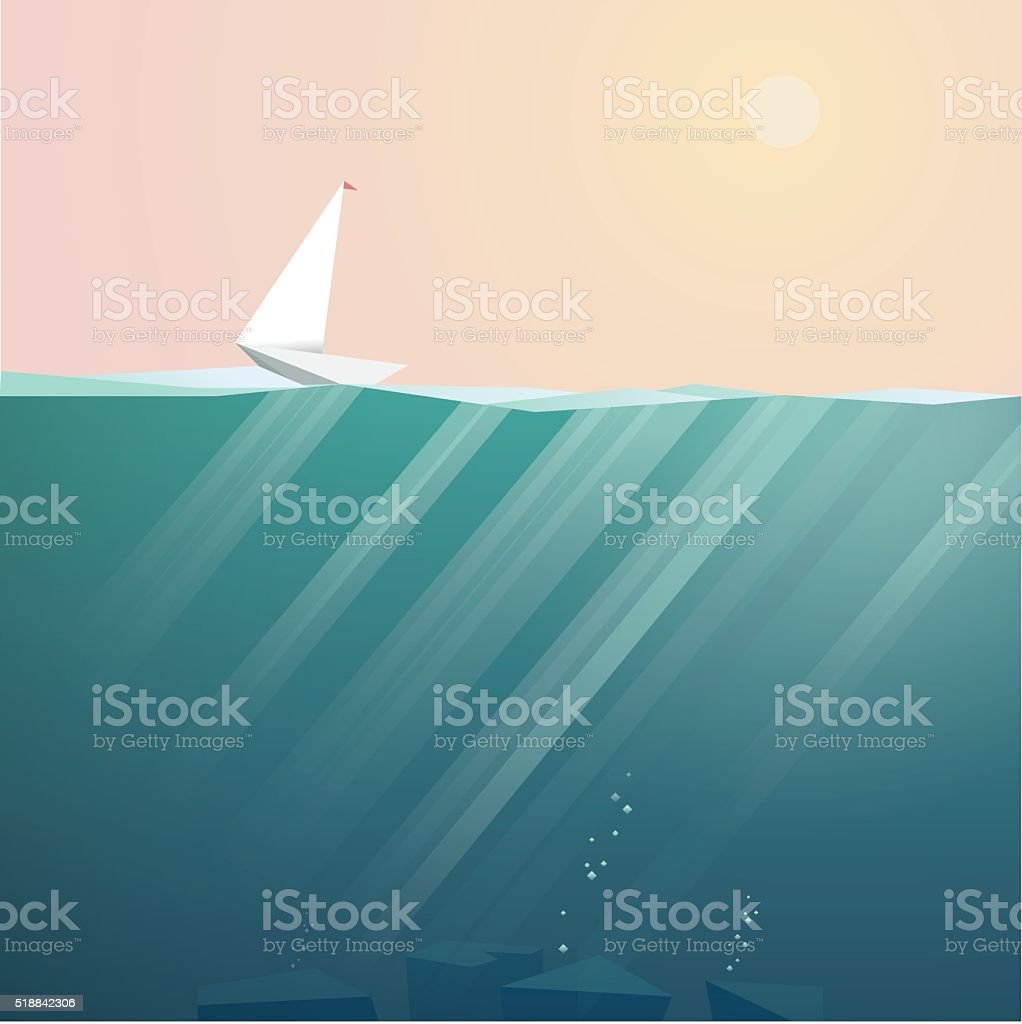 Yacht on ocean surface sailing in summer sunset. Low poly vector art illustration