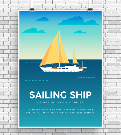 Yacht on water icon poster on brick wall