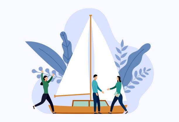 ilustrações de stock, clip art, desenhos animados e ícones de yacht or sailboats with human concepts, travel vector illustration - enjoying wealthy life