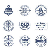 Set of isolated boat or ship. Icons with yacht and anchor for journey around the world, nautical signs or maritime emblem, international travel badge with navy vessel and ship s wheel.