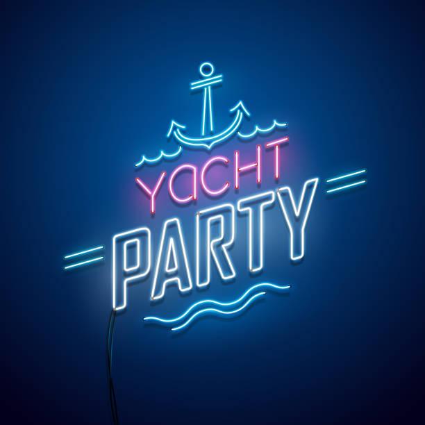 illustrations, cliparts, dessins animés et icônes de yacht parti enseigne au néon - voilier à moteur