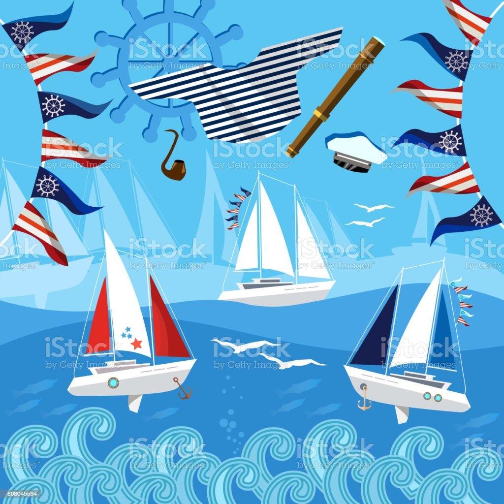 Yacht racing, sailing regatta. Water sports Nautical school. Sea adventure. Sailing in the wind through the waves vector art illustration
