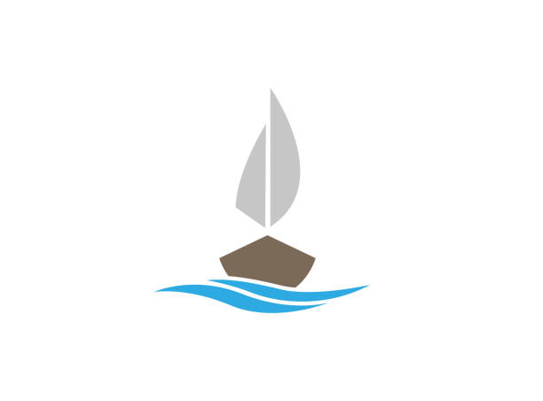 yacht sailing in the sea with meer for logo yacht sailing in the sea with meer for logo meer stock illustrations