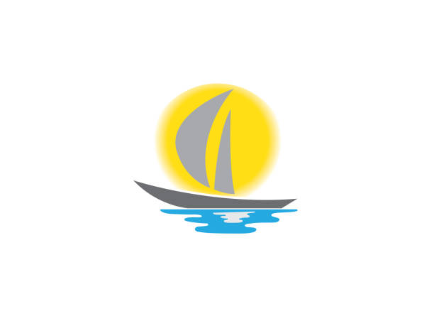Yacht sealing with big sun and sea for logo design vector art illustration