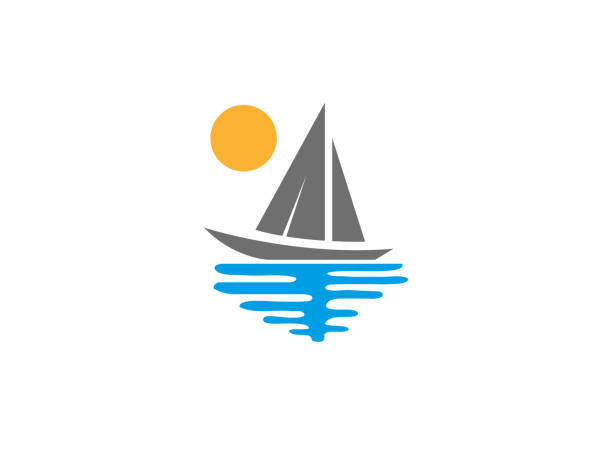 Yacht sealing with sun and sea logo vector art illustration
