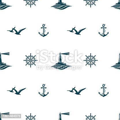 nautical seamless pattern with lighthouse, helm, anchor and seagulls on white background