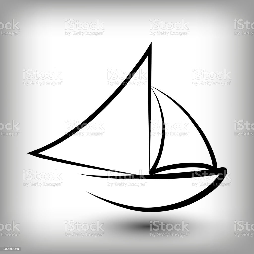 Yacht Templates Sail Boat Silhouettes Stock Vector Art & More Images ...