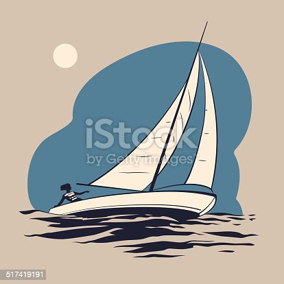 Girl riding on a sailing boat on the sea waves vector illustration