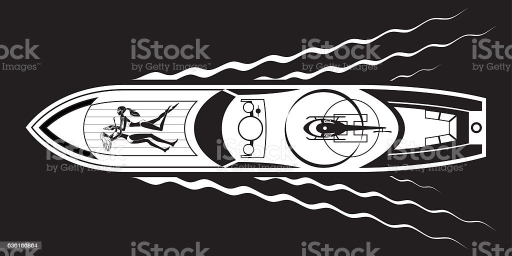 Yacht with fashion models and helicopter vector art illustration
