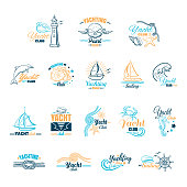 Collection of colored emblems for yacht club isolated on white background. Can be used for posters, banners or t shirts. Vector illustration