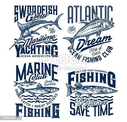 Yachting and marine fishing club t-shirt prints