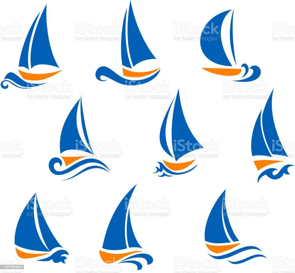 Yachting and regatta symbols royalty-free stock vector art