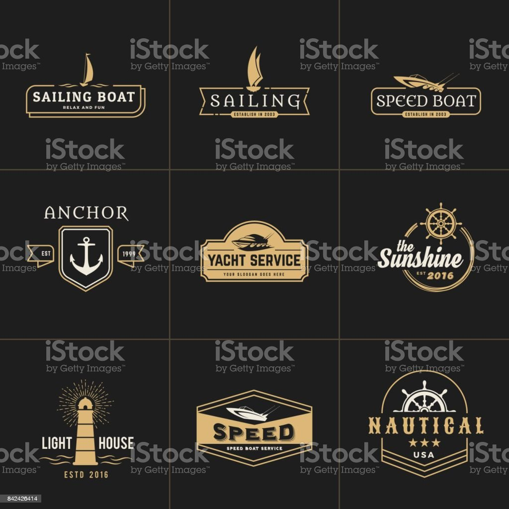 yachting and sailing vintage emblem template - illustrazione arte vettoriale