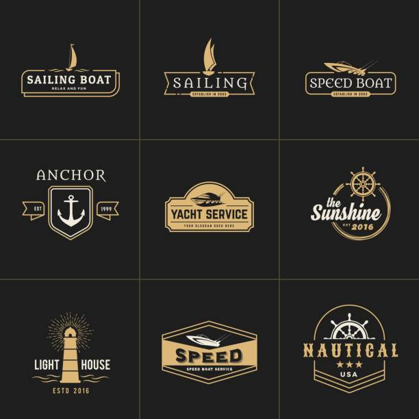 yachting and sailing vintage emblem template vector art illustration