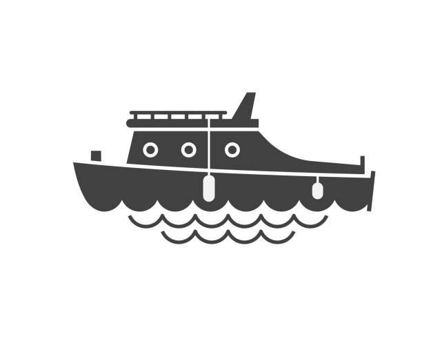 stockillustraties, clipart, cartoons en iconen met yachting boot overzicht pictogram - rondvaartboot