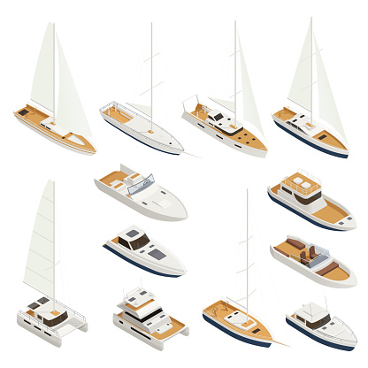 Yachting Isometric Icon Set