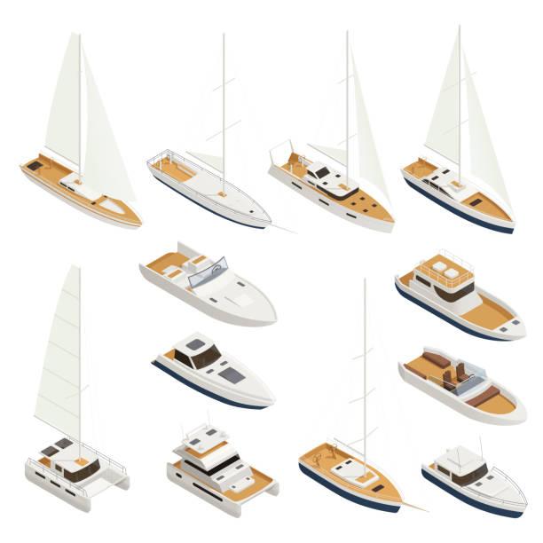 illustrations, cliparts, dessins animés et icônes de yachting isometric icon set (en) - voilier à moteur