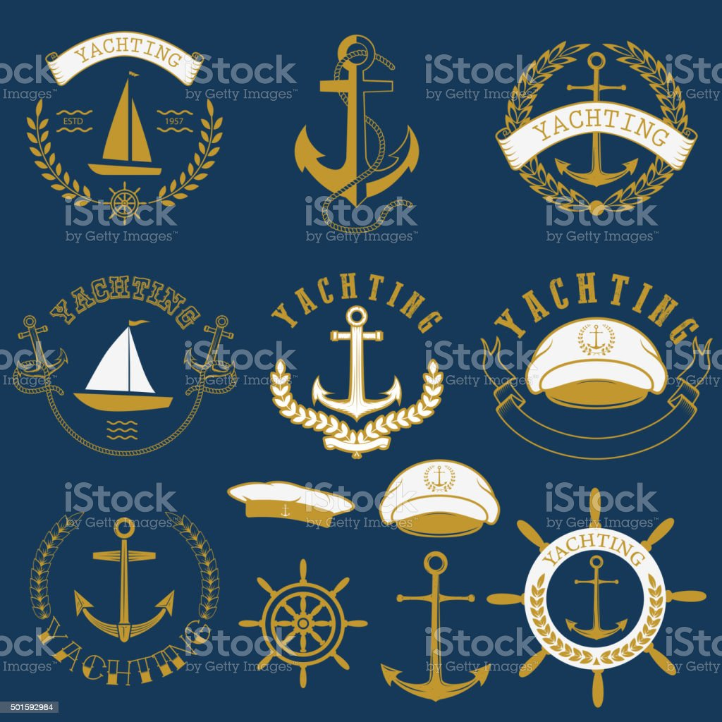 yachting labels and badges.jpg vector art illustration