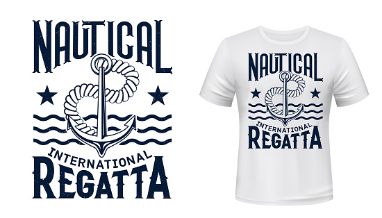 Yachting regatta t-shirt print with anchor