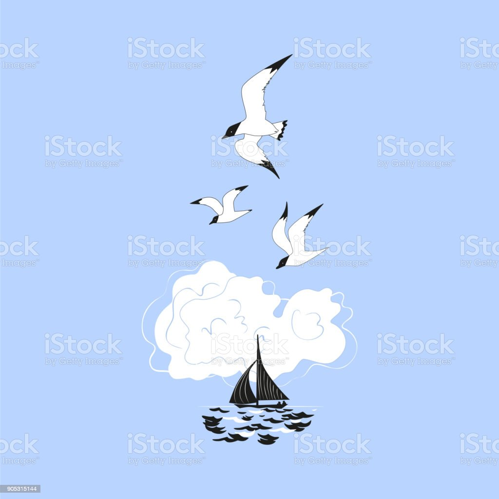 Yachting sport concept vector art illustration