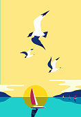 Ship silhouette in ocean. Yacht boat on sea water. Sailing nautical leisure sport. Seagulls fly in sky. Sailboat maritime sign. Pop art style. Flat simplicity minimalism design. Vector illustration