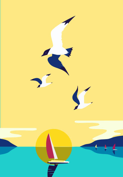 Yachting sport concept Ship silhouette in ocean. Yacht boat on sea water. Sailing nautical leisure sport. Seagulls fly in sky. Sailboat maritime sign. Pop art style. Flat simplicity minimalism design. Vector illustration waterfront stock illustrations