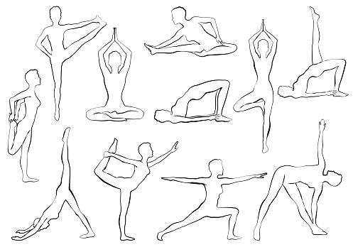 yaga asana woman doing yoga or pilates exercise relaxation