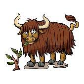 yak eating plant.buffalo cartoon
