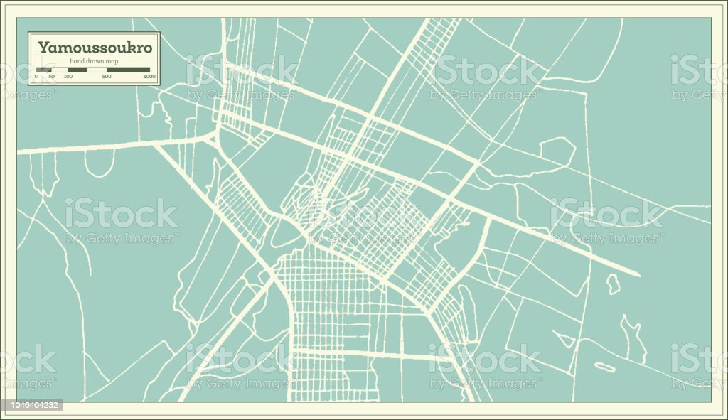Yamoussoukro Ivory Coast City Map In Retro Style Outline Map Stock on abobo cote d'ivoire map, tripoli libya map, abidjan cote d'ivoire map, africa cote d'ivoire map, kigali rwanda map, ivory coast map, cote d'ivoire capital on map,