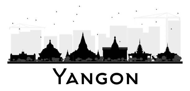 yangon city skyline black and white silhouette. - burma home do stock illustrations