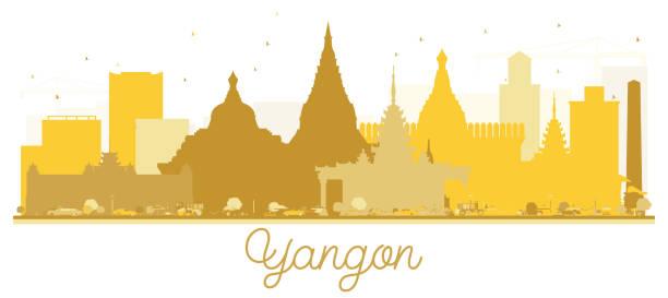 yangon city skyline golden silhouette. - burma home do stock illustrations