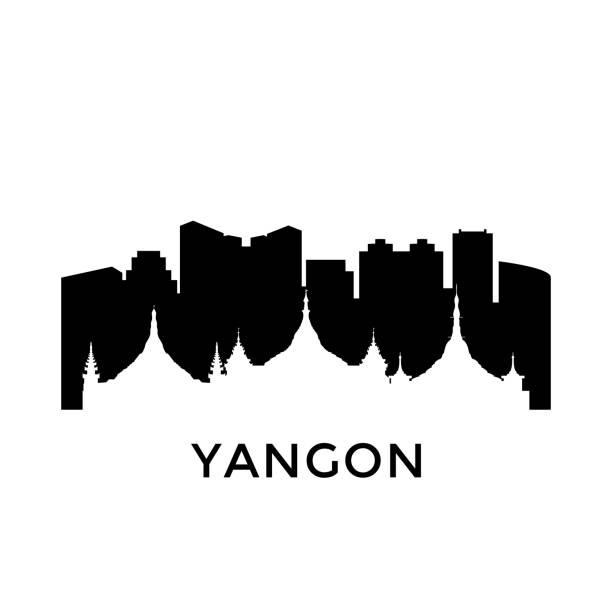 yangon, myanmar city skyline. negative space city silhouette. vector illustration. - burma home do stock illustrations