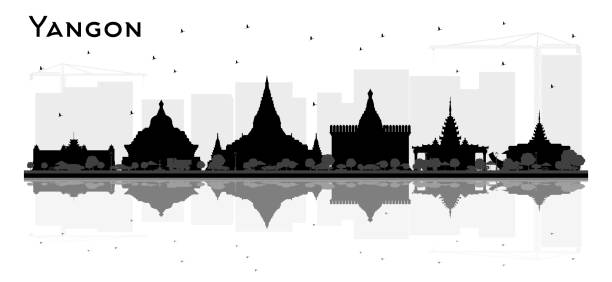 yangon myanmar city skyline silhouette with black buildings and reflections. - burma home do stock illustrations