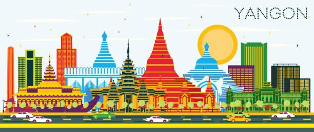 yangon myanmar city skyline with color buildings and blue sky. - burma home do stock illustrations