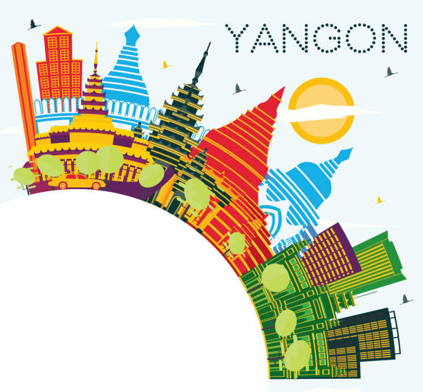 yangon myanmar city skyline with color buildings, blue sky and copy space. - burma home do stock illustrations